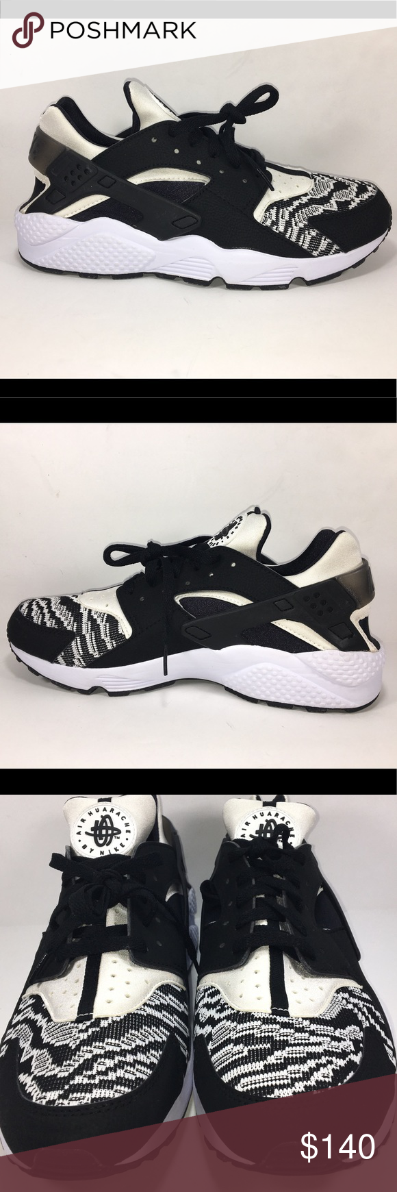 Nike Air Huarache Run PA Shoes Zebra Knit Sneaker Excellent New