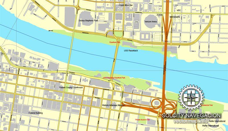 PDF Map LittleRock Arkansas US Printable Vector Street City - Little rock arkansas on us map