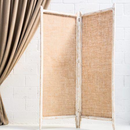 Biombo tela saco decoracion boda bodas atrezzo vintage madera adream pinterest decor - Biombos de mimbre ...