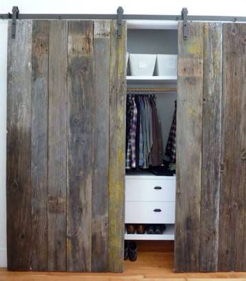 Pallet wood sliding closet doors … | Pinteres…