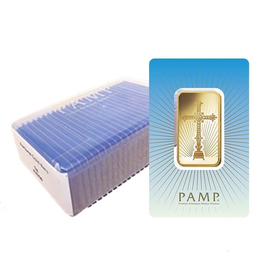 Box Of 25 1 Oz Pamp Suisse Gold Bar Romanesque Cross In Assay 9999 Fine Gold Bar Gold Bullion Bars Gold