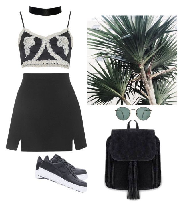 """Coachella weekend 2"" by maelohan ❤ liked on Polyvore featuring Topshop, Ray-Ban and NIKE"