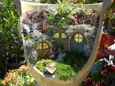 Fairy Garden Flower Pots Great idea and a good way to use some of the old broken pots i have miniature garden in a broken pot workwithnaturefo