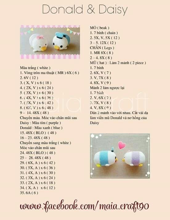 Tsum Tsum donald daisy | crochet amigurumi | Pinterest | Crochet ...
