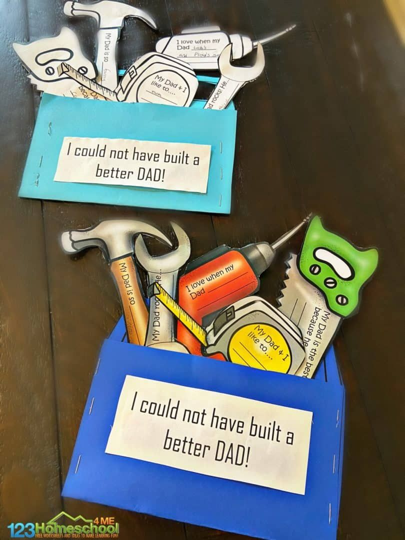 Cute toolbox printable fathers day craft fathers day