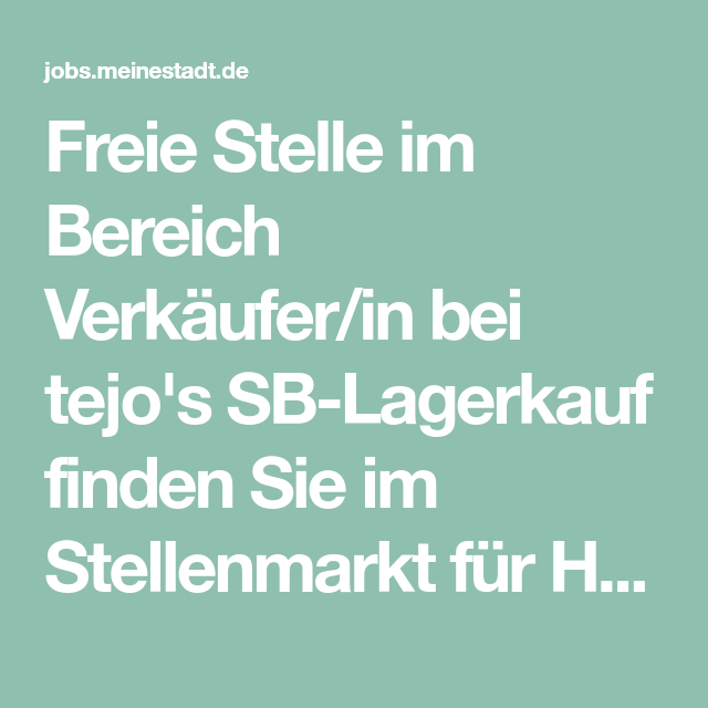 Verkäufer/in in 2020 | Husum, Lager, Meinestadt