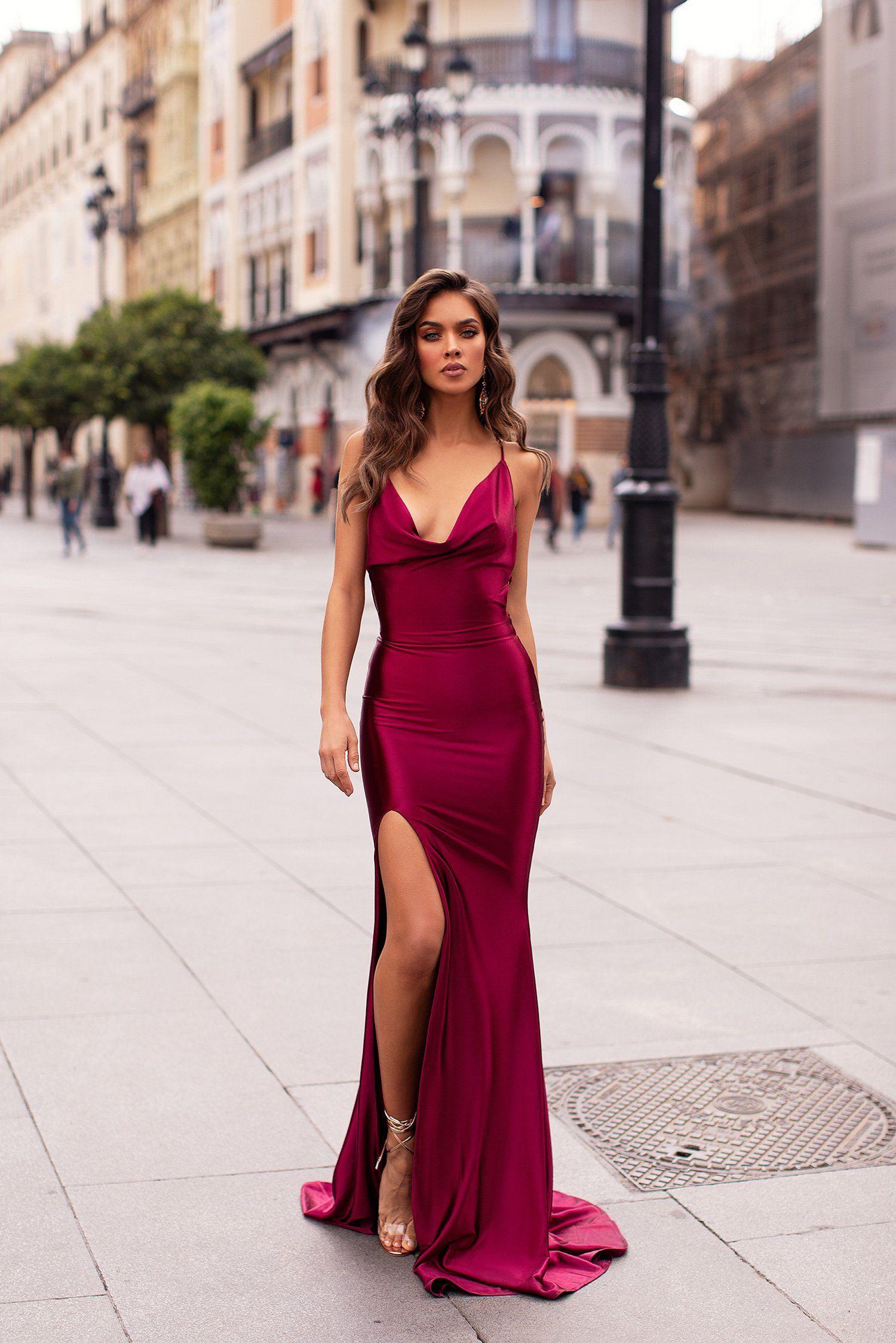aeab7803807 Desirae - Plum in 2019 | Prom | Satin gown, Dresses, Formal dresses
