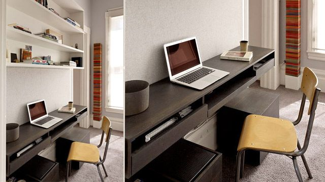 The integrated wood desk workspace small study for Long narrow office layout