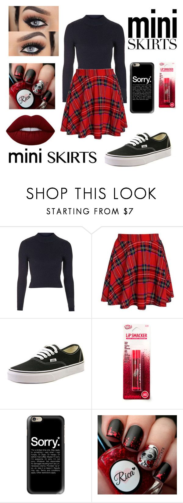 """Rebel red"" by alicia-brockett ❤ liked on Polyvore featuring Topshop, Vans, Casetify and Lime Crime"