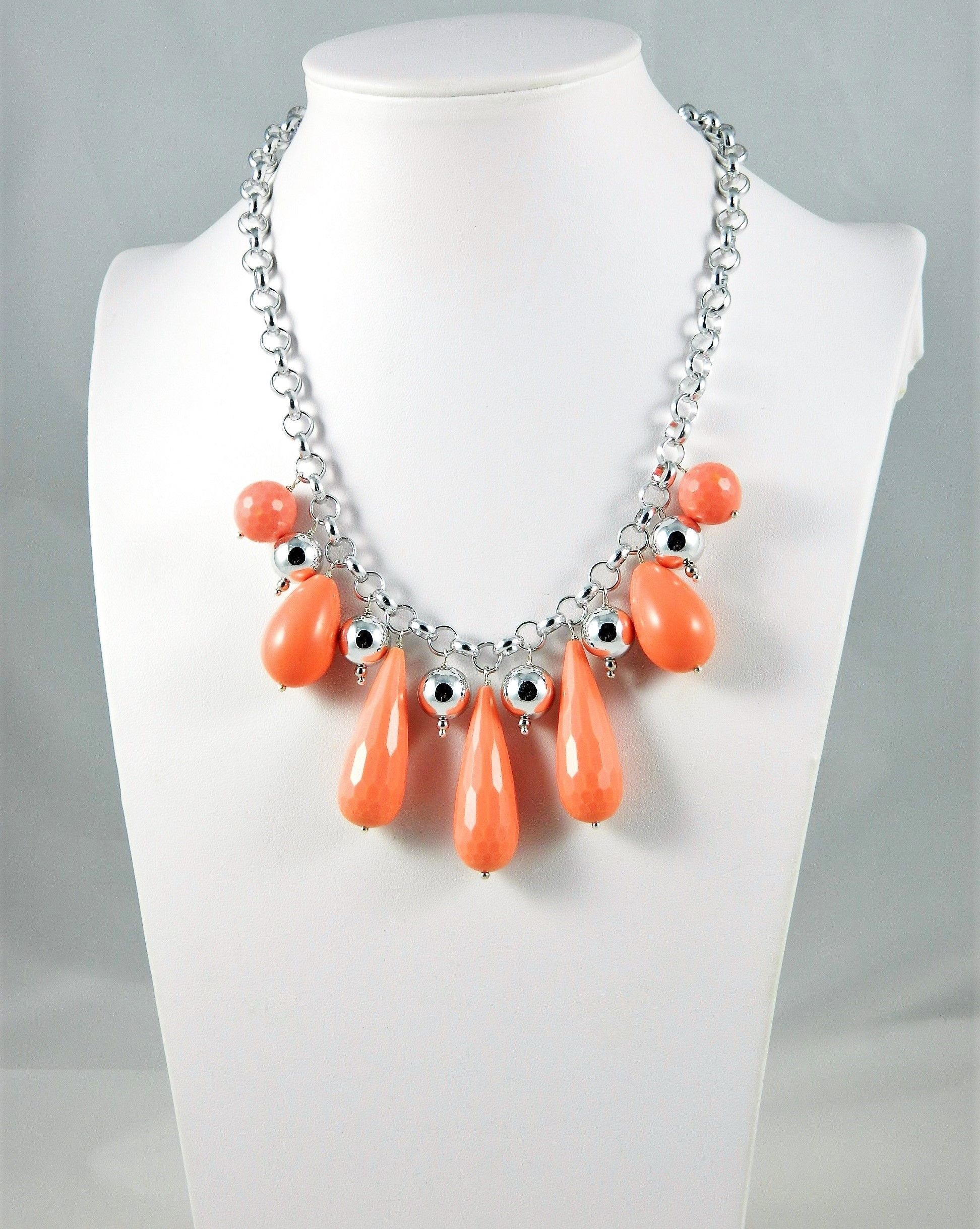 Necklace Salmon Pink Coral Drops