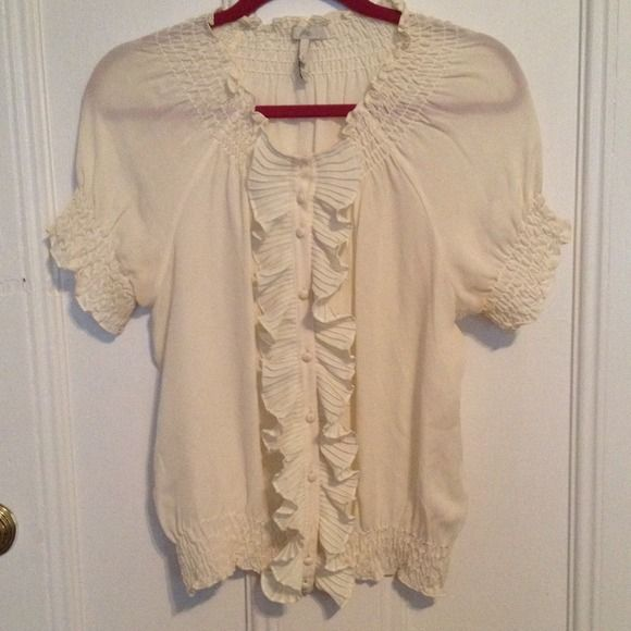 Joie ruffled blouse Great condition Joie blouse. Off white with great ruffles. Very classy! Joie Tops Blouses