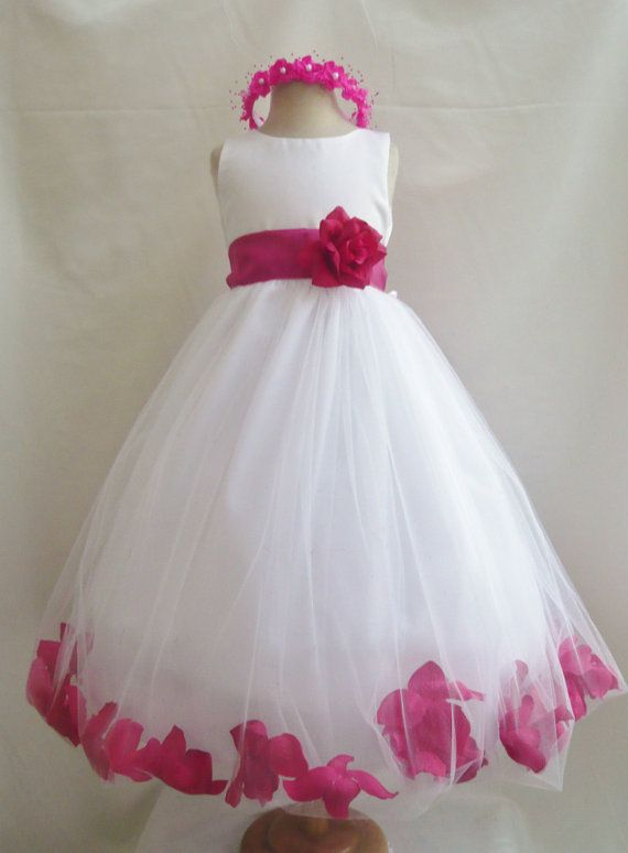 ba7dda1e46f Flower Girl Dresses - WHITE with Fuchsia Rose Petal Dress (FD0PT) - Wedding  Easter Bridesmaid - For Baby Children Toddler Teen Girls