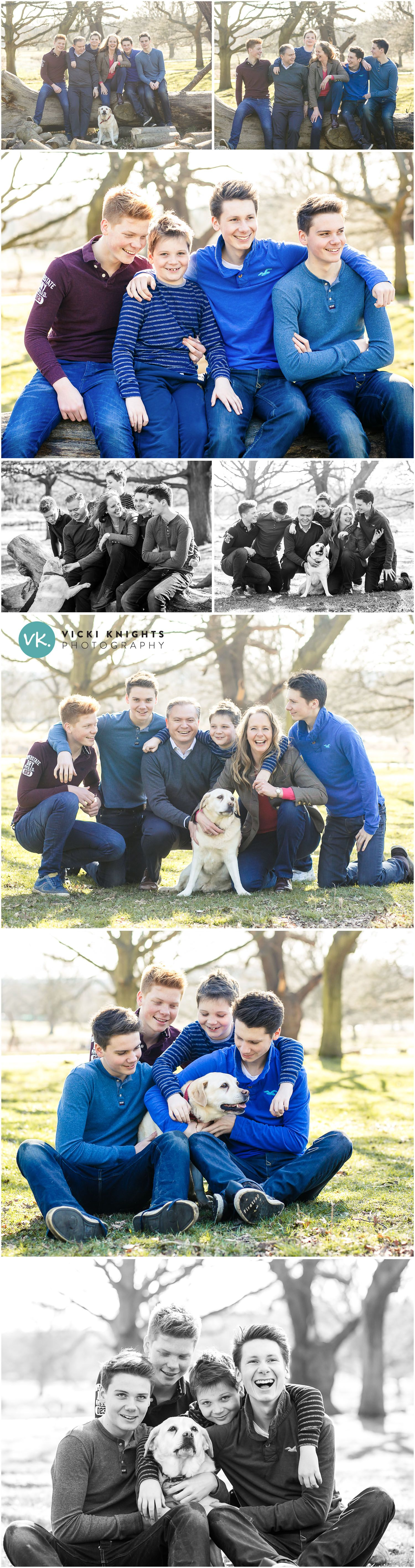 A family photo shoot outdoors with teenagers Family