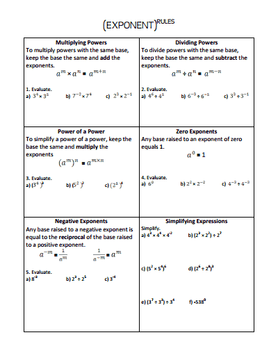Exponent rules - Exponents