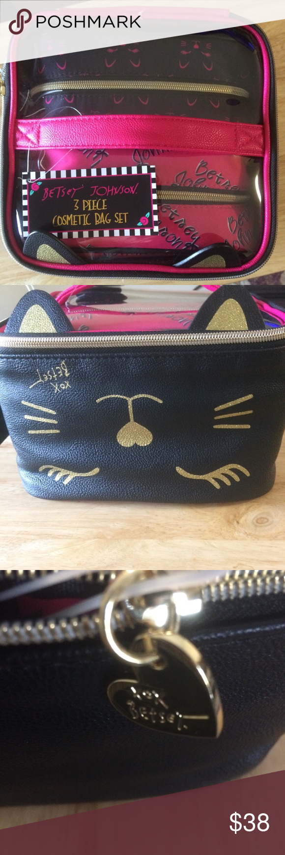 NWT BETSEY Johnson Cat 3 pc. Cosmetic bag set Cute 3 piece cosmetic bag set  by BETSEY Johnson Cat design Hot pink and black Train case Gold hardware  Betsey ... 0d50d73d0482d