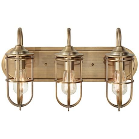 Feiss Urban Renewal 21 1 2 Wide Antique Brass Bath Light