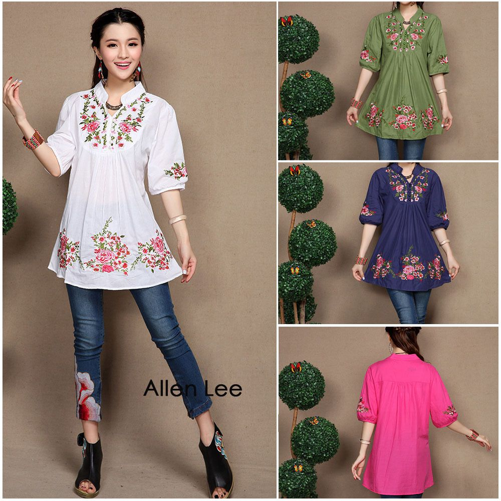 479ba2061775d Hot Sale new fashion Chinese traditional blouse costumes ethnic flower  embroidery stand collar shirt brand design tops for women  Blouse designs