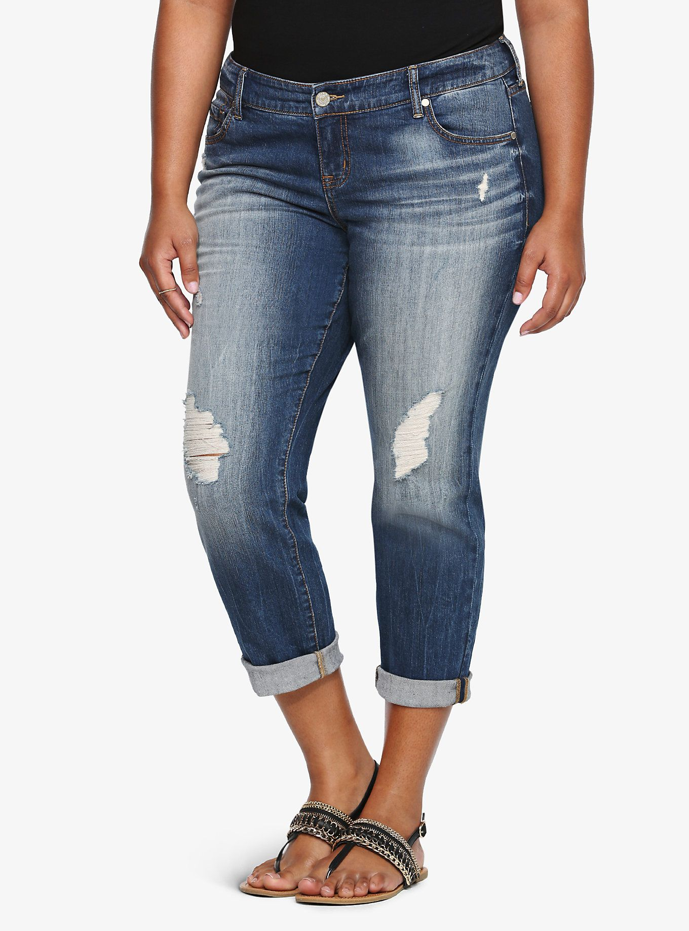 Torrid Cropped Boyfriend Jean - Medium Wash with Destruction ...
