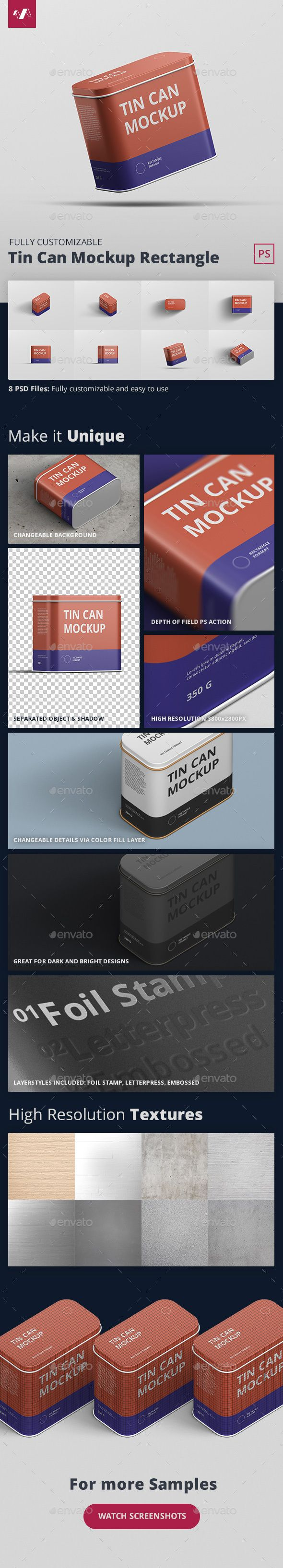 Tin Can Mockup Rectangle Free update