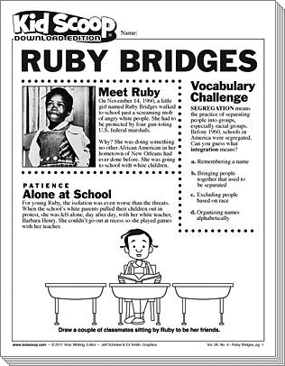 Ruby Bridges Black History Month Activities Black History