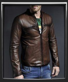 mens jacket - original café racer style leather jacket-leather