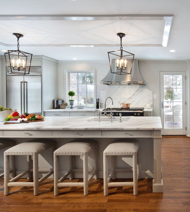 Drawers Under Counter Overhang Painted Brick Home Exterior And Kitchen Renovation Ideas Kitchen Renovation Grey Kitchen Island Kitchen Remodel