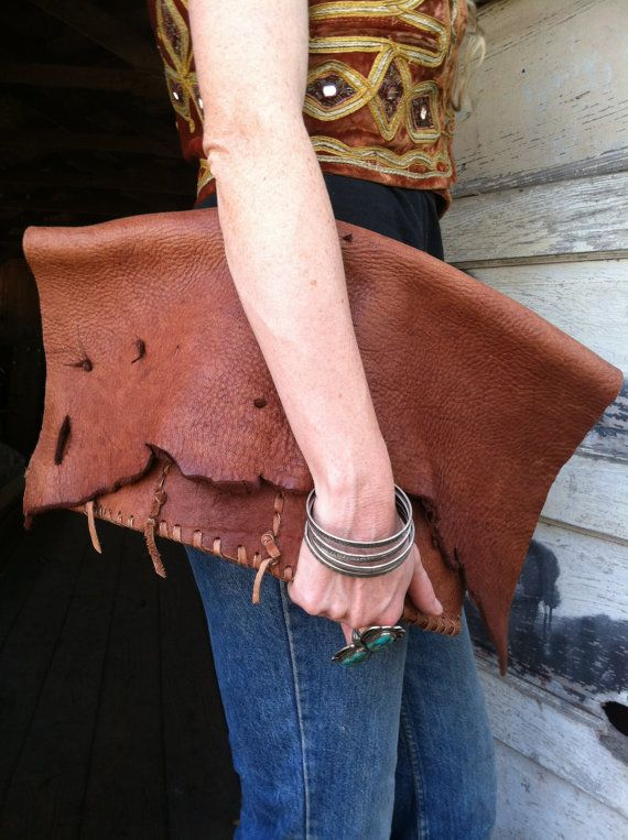 VINTAGE 70s leather HUGE bohemian clutch bag
