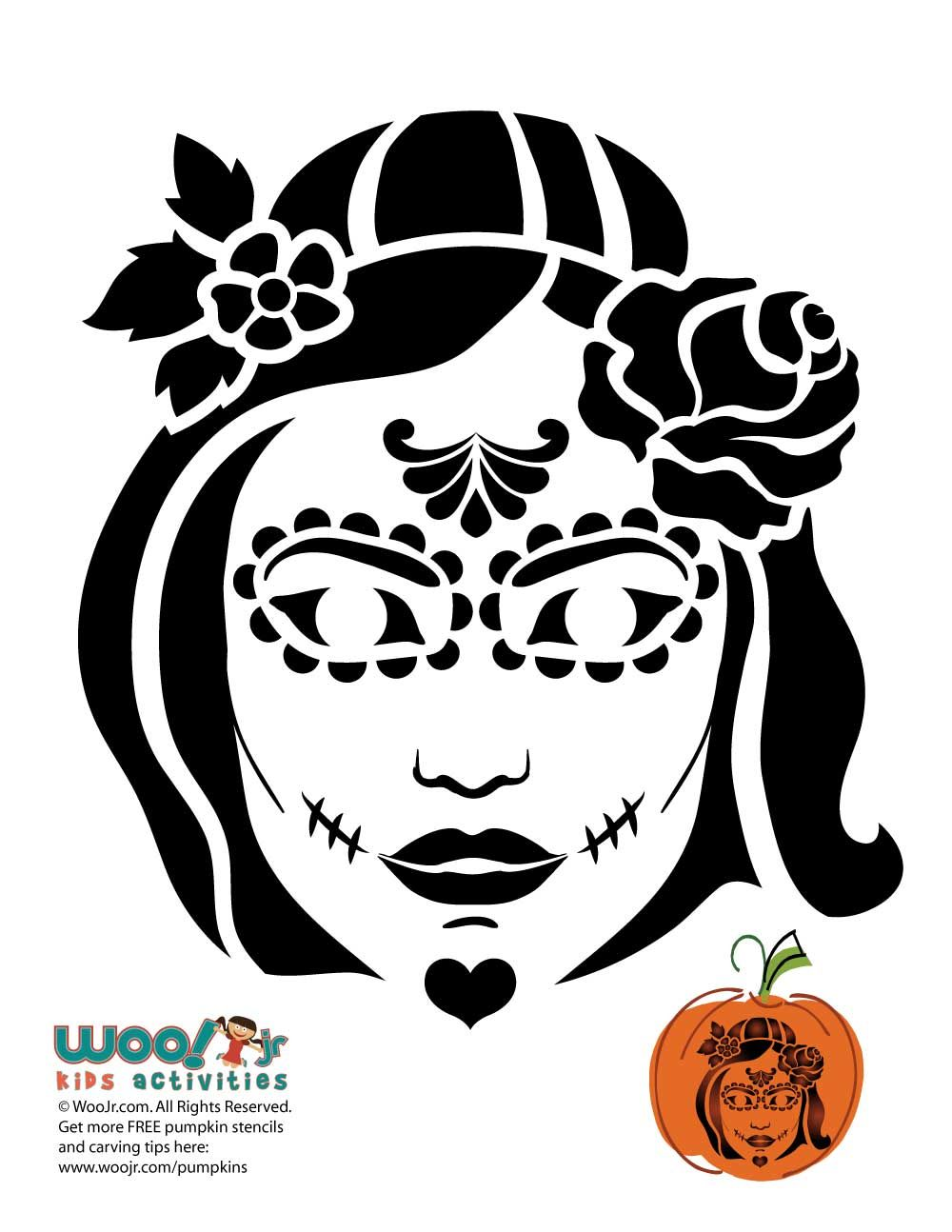 Day of the Dead Woman Pumpkin Stencil | Stenciling, Pumpkin carvings ...
