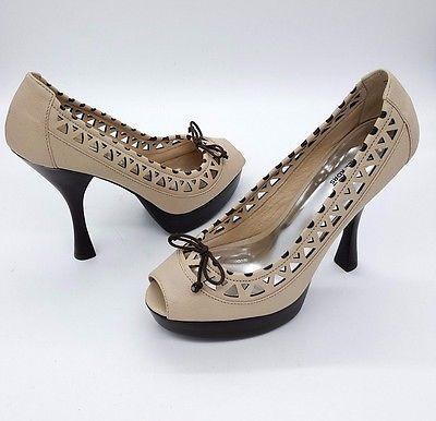 MICHAEL KORS Size 10 Platform Peep Toe Vintage Inspired High Heel Pumps Shoes