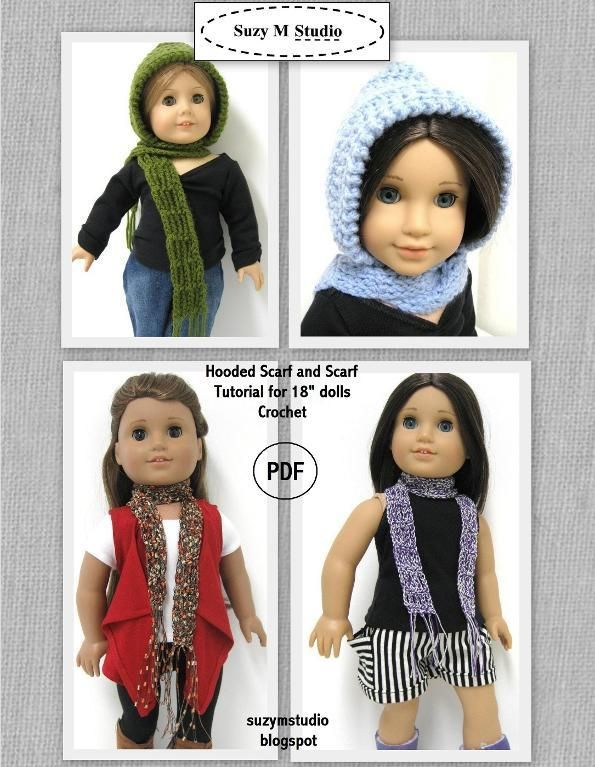 Free Hooded Scarf Tutorial- Crochet PDF | doll stuff | Pinterest