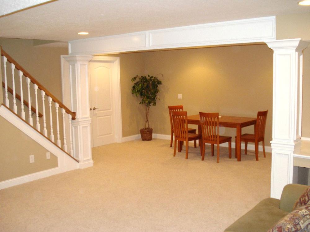 neutral basement dinner area paint color feat charming on basement bar paint colors id=99315