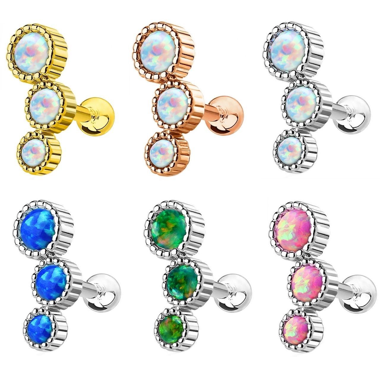 Ear piercing ideas simple  Triple Synthetic Opal Ridged Cartilage Tragus Stud  Tragus Opals