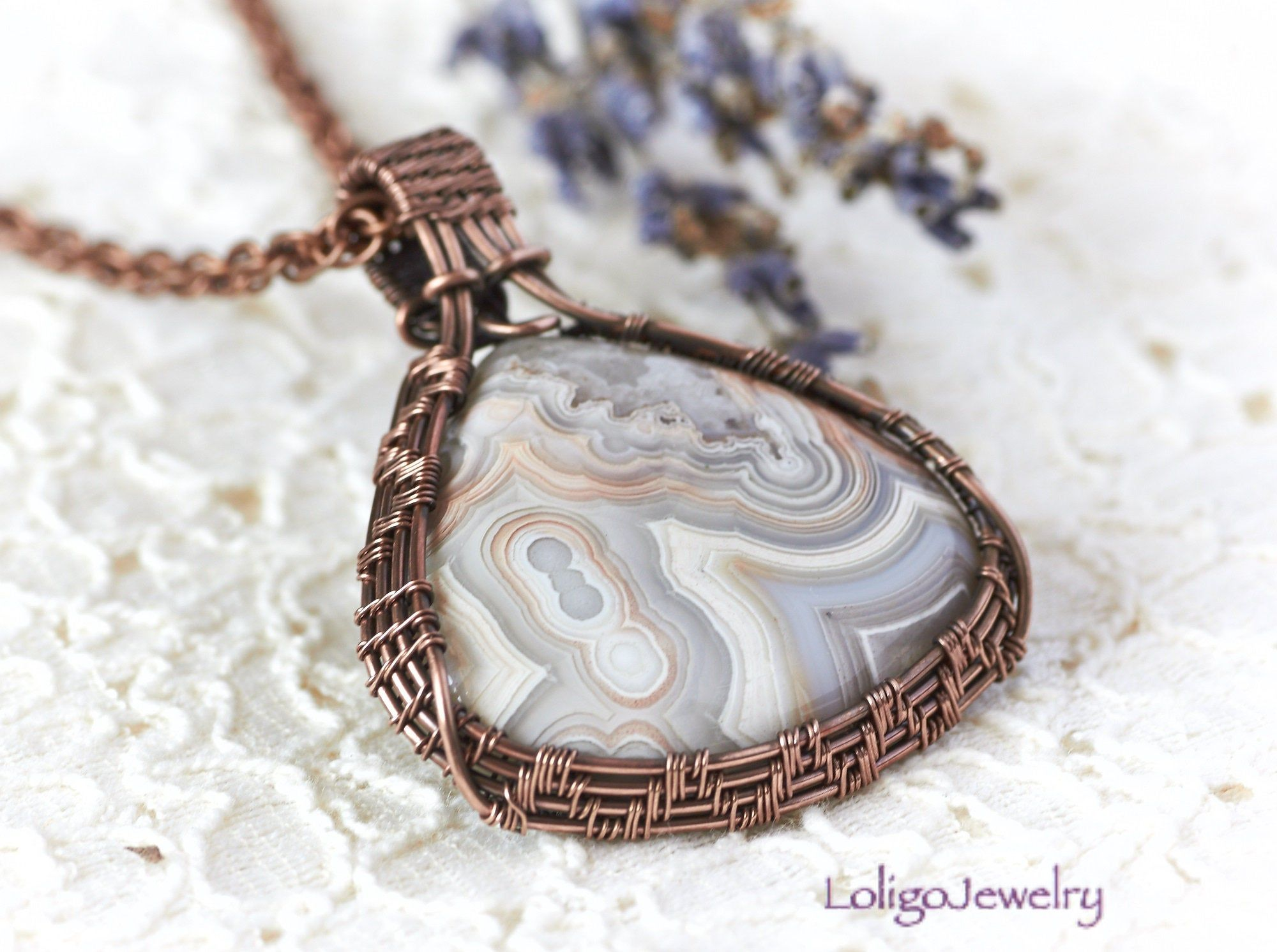 Agate and Copper Wire Wrapped Pendant