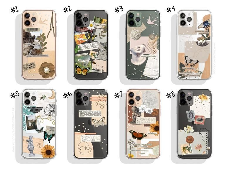 Aesthetic Scrap Collage Clear Cases For iPhone 12 Mini 11 Pro Max X XR XS 7 8 Plus SE 2020 Case With Modern Sticker Design The Urban Flair