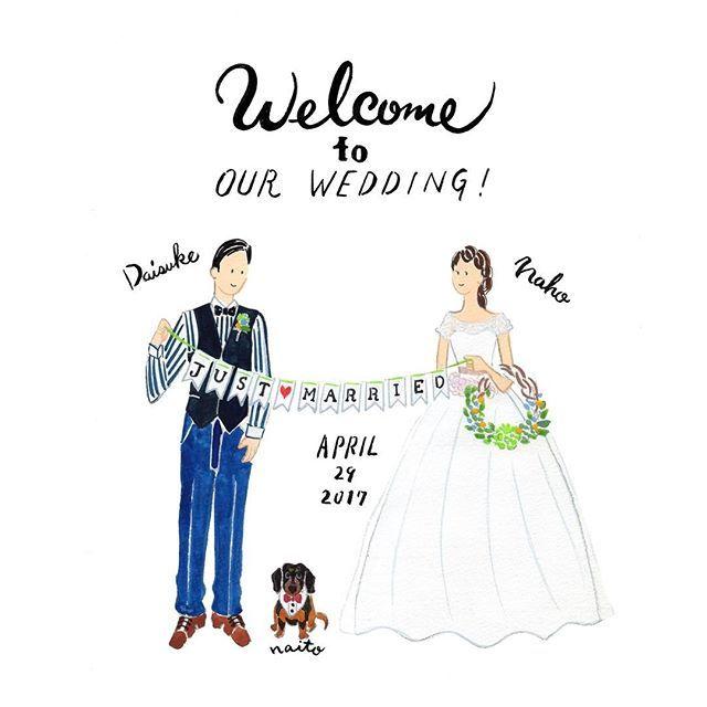 Welcome To Our Wedding おふたりがフラッグを持っているイラストをお描きしました リース型ブーケも素敵です 過去の作品は Cuicui Illustboard でご覧いただけます Cuicui Wedding Welcomeboard Welcomes Svadba