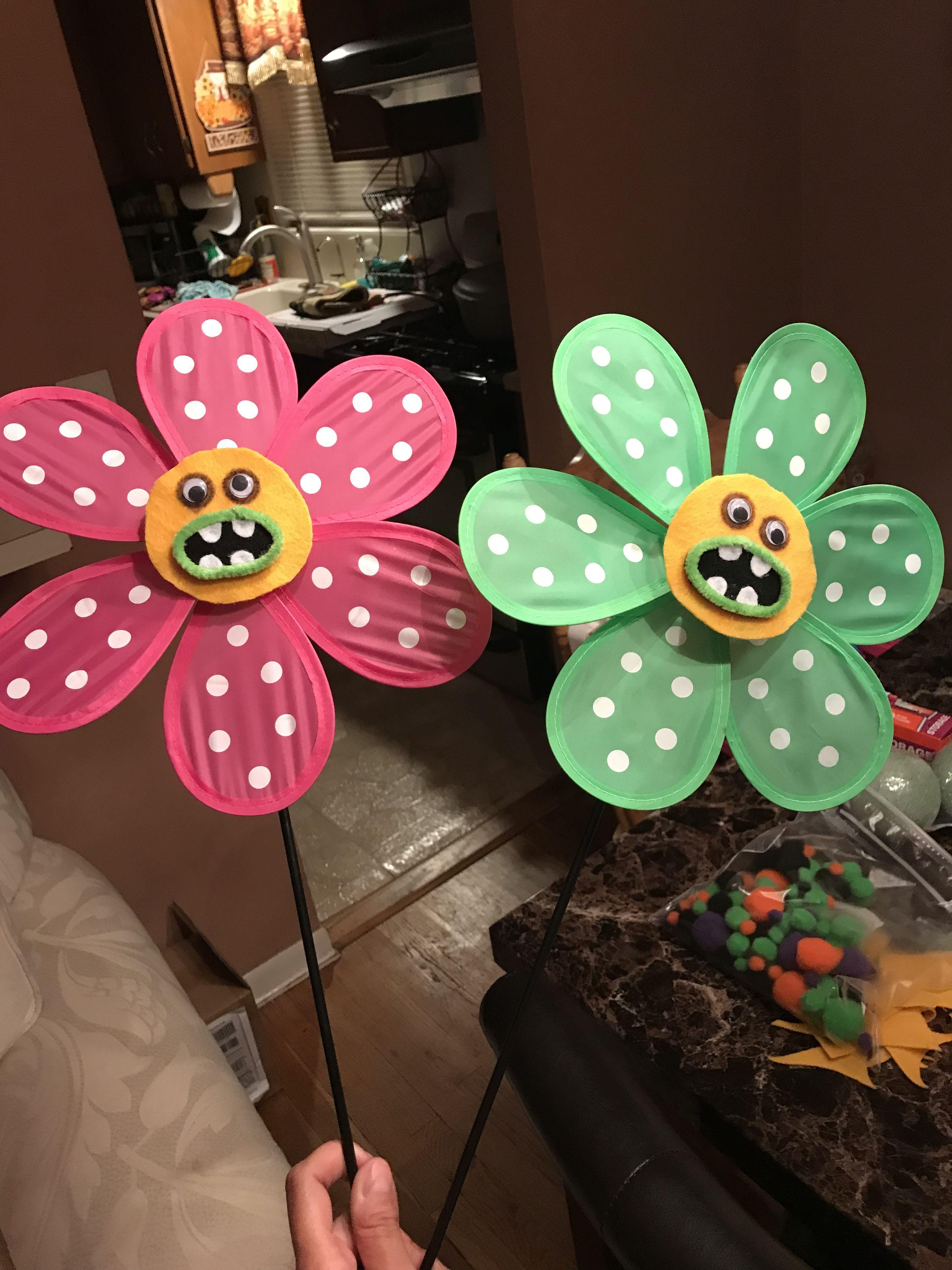 Handmade singing flowers of dollar tree pinwheels for Olivia\'s ...