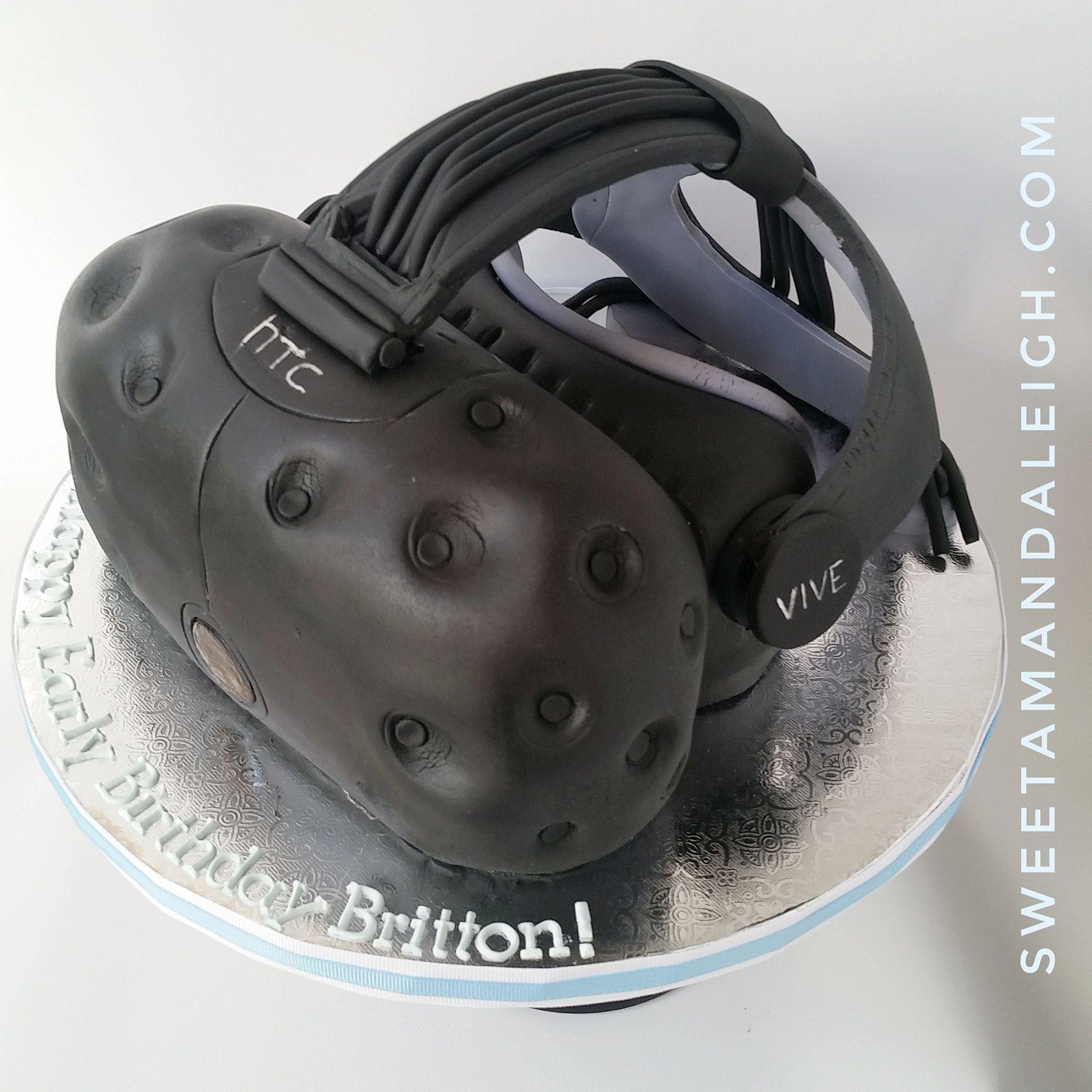 Virtual Reality Birthday Cake Mascot Cartoon Stock Vector