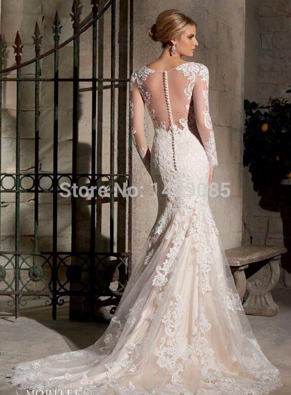 d6cad1636 Custom Made vestido de noiva Ver Através Voltar vestidos de Noivas 2014 Sereia  vestidos de casamento da luva vestido de Casamento
