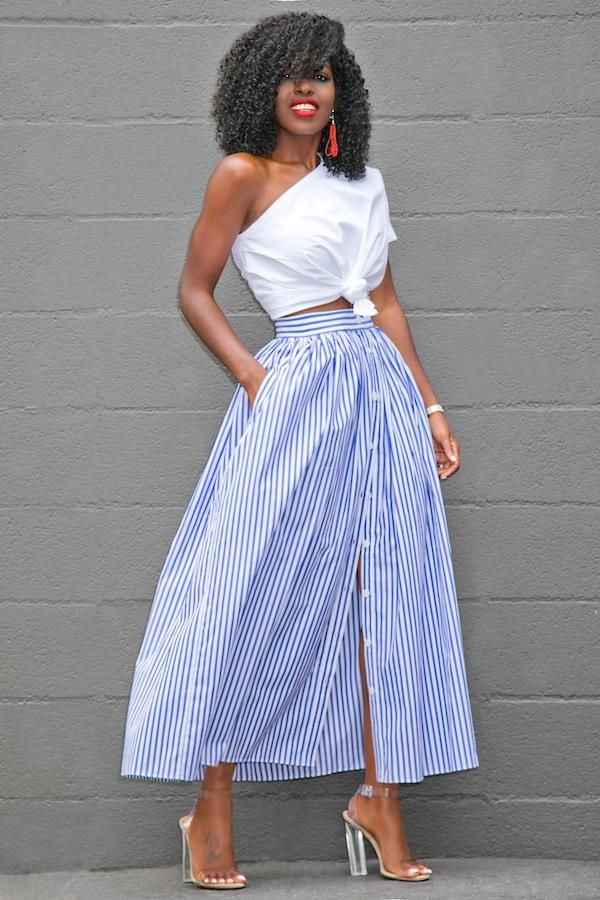 996751d05 Glam by Carla Blue White Stripes Button Front Maxi Skirt | Style in ...