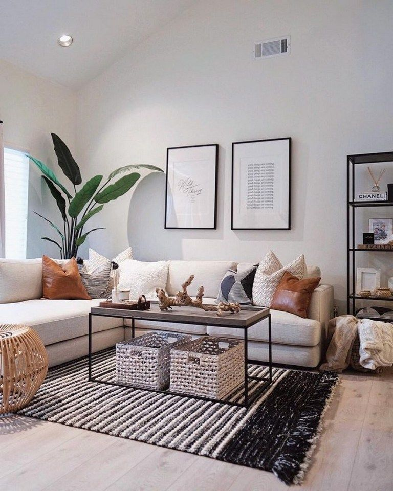 Scandinavian Living Room White Walls Wooden Floor White Sofa Co Small Apartment Decorating Living Room Living Room Decor Modern Living Room Decor Apartment