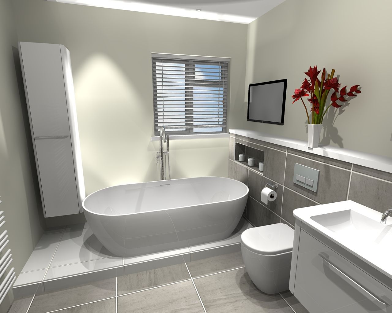 Freestanding Bath & Bauhaus Vanity Unit In Bathroom In Otford New Virtual Bathroom Design Design Inspiration