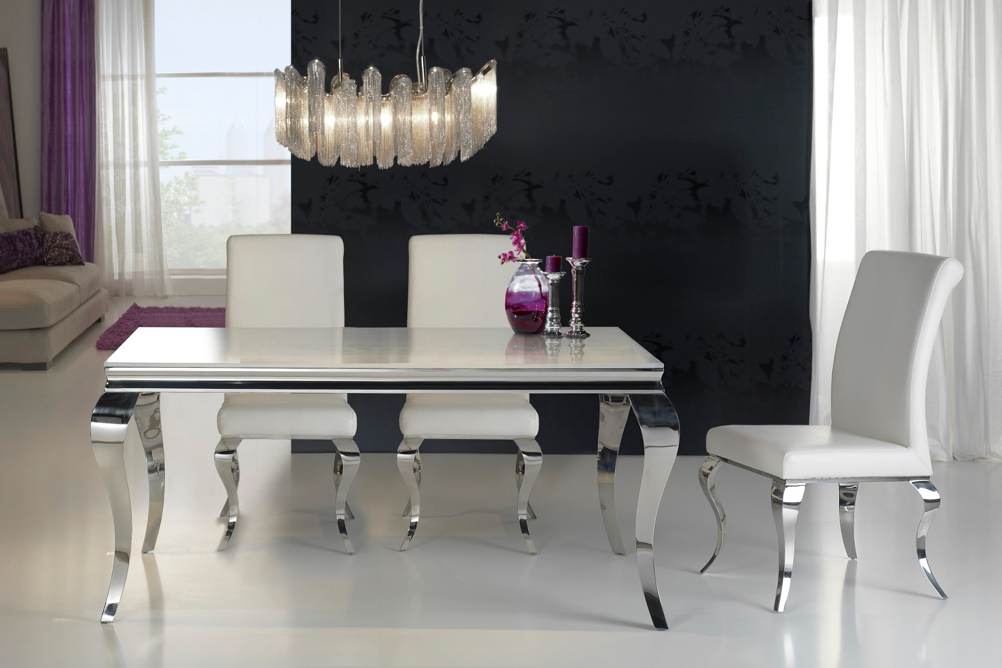Attractive Modern Louis Glass Top Dining Table. This Rectangular Dining Table Is  Finished With A Tempered