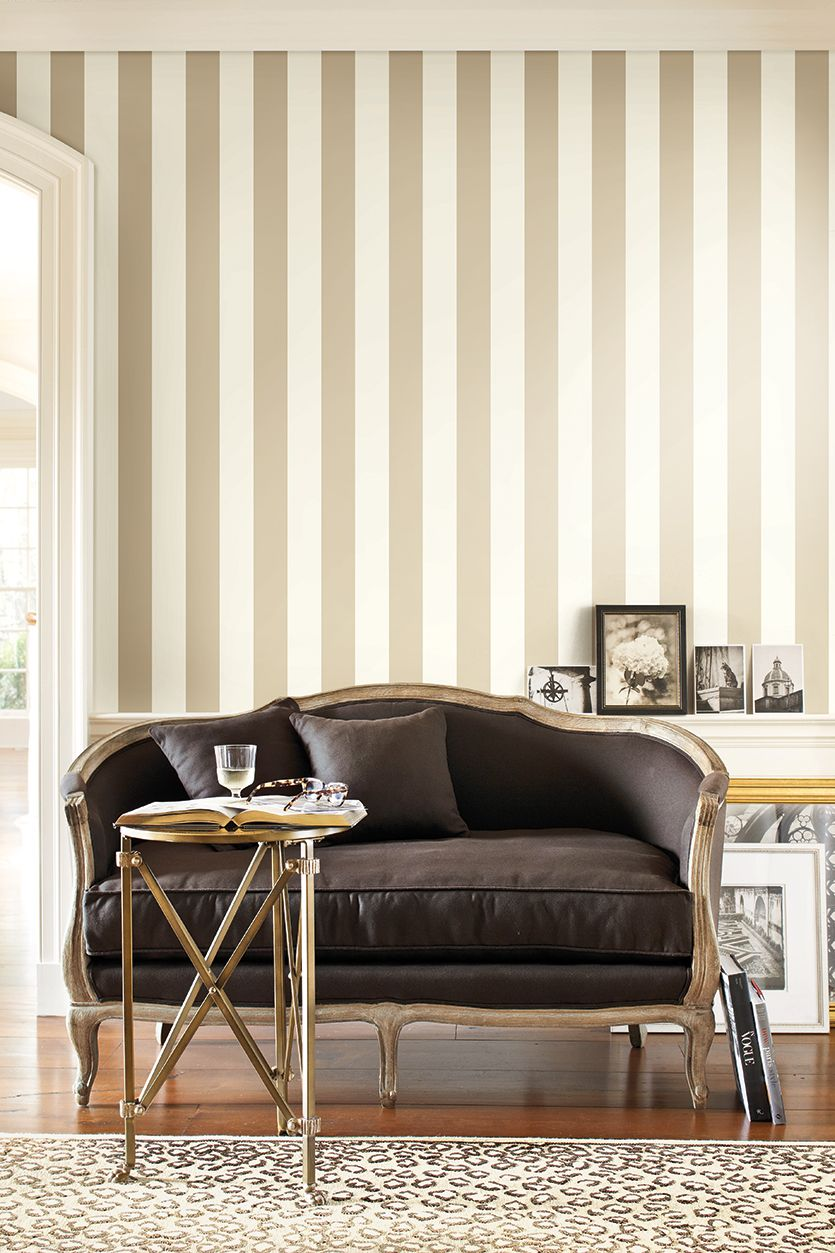 Striped wallpaper in a room - LOVE this wallpaper | Charcoal Ivory ...