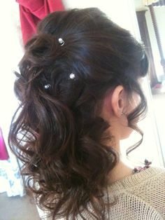 up down hairstyles medium length hair - Google Search | wedding ...
