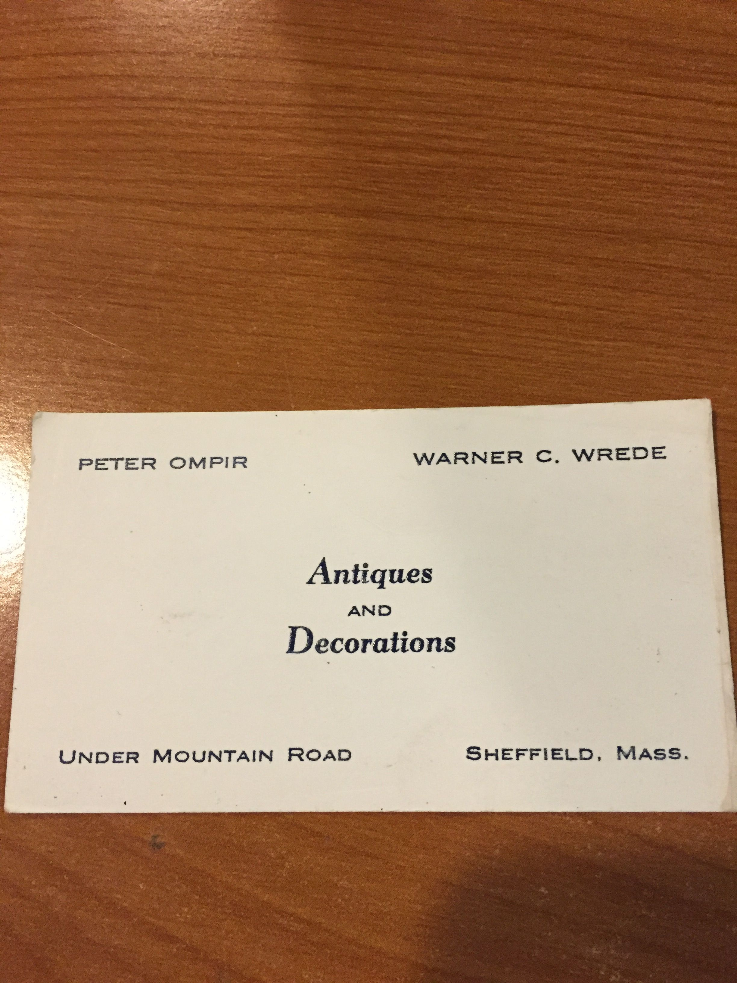 Peter Ompir/Warner Wrede Business Card | Peter Ompir Originals ...