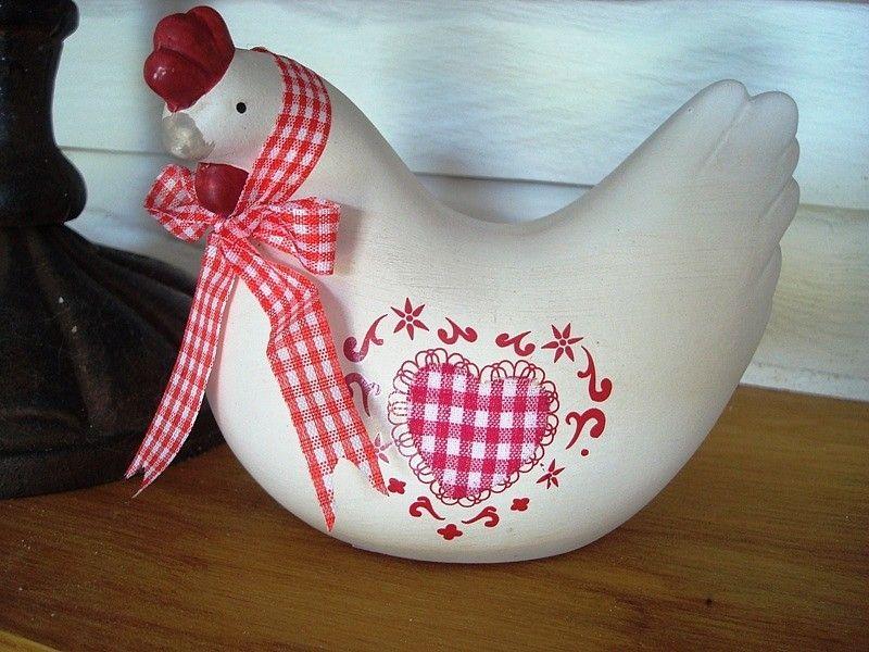 petite poule en c ramique coeur d co coq et poule d co campagne pinterest poule deco et. Black Bedroom Furniture Sets. Home Design Ideas