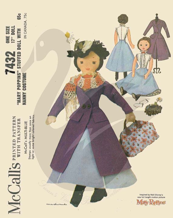 Reproduction Mary Poppins17 Cloth Doll Sewing Pattern Mary Poppins ...