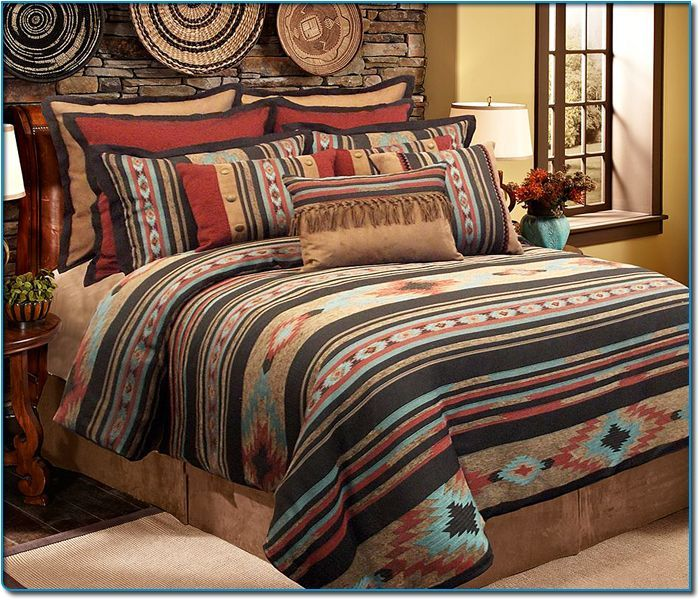 This Attractive Four Piece Comforter Set Features A Beautiful Santa Fe Design Colored With A Variety Of Hand Western Bedroom Comfortable Bedroom Comforter Sets