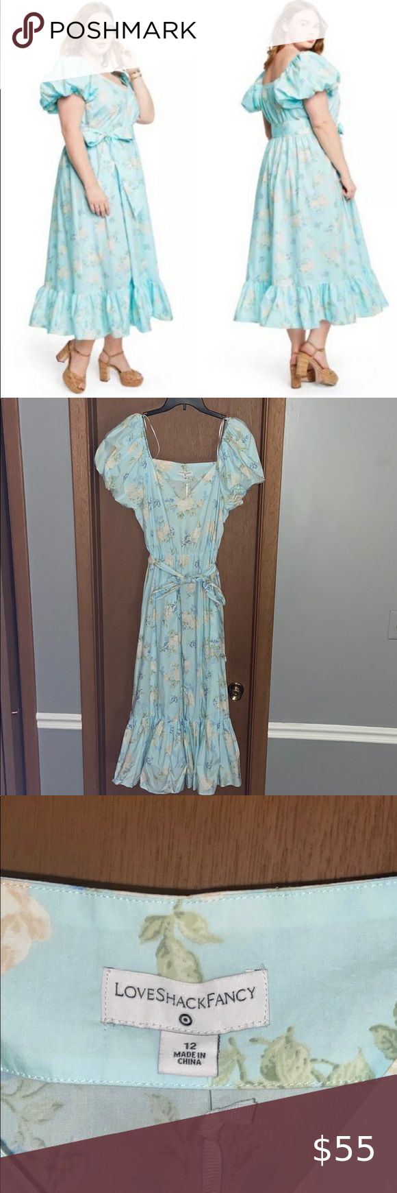 Nwt Loveshack Fancy X Target Estelle Dress Nwt Blue Floral Midi Dress With Puff Sleeves And A Belt Super Flatteri Blue Floral Midi Dress Estelle Dress Dresses [ 1740 x 580 Pixel ]
