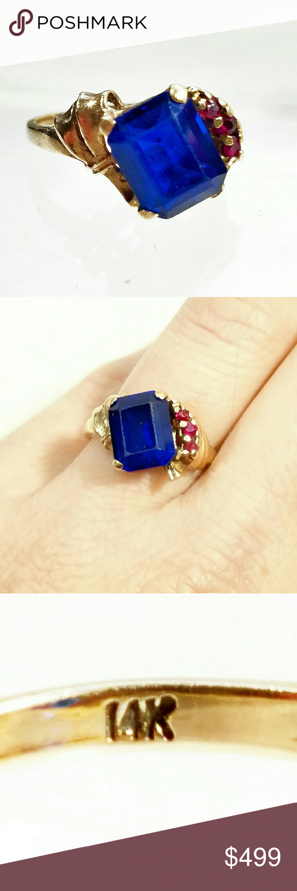 VTG 14K Sapphire, Diamond & Ruby Modernist Ring-6 Superb Vintage 14K  Sapphire, Diamond & Ruby Modernist Ring-Size 6. Beautiful emerald cut Simulated Sapphire with 3 genuine, natural rubies & small diamonds.  Minor wear to the Sapphire due to age. Stamped & tested as 14K solid gold. Vintage Jewelry Rings